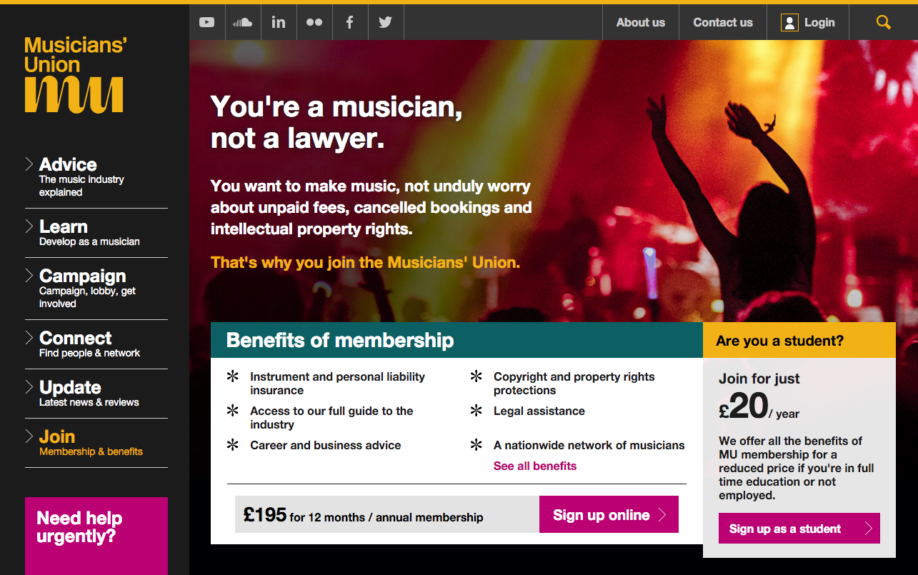 Screenshot of the join page